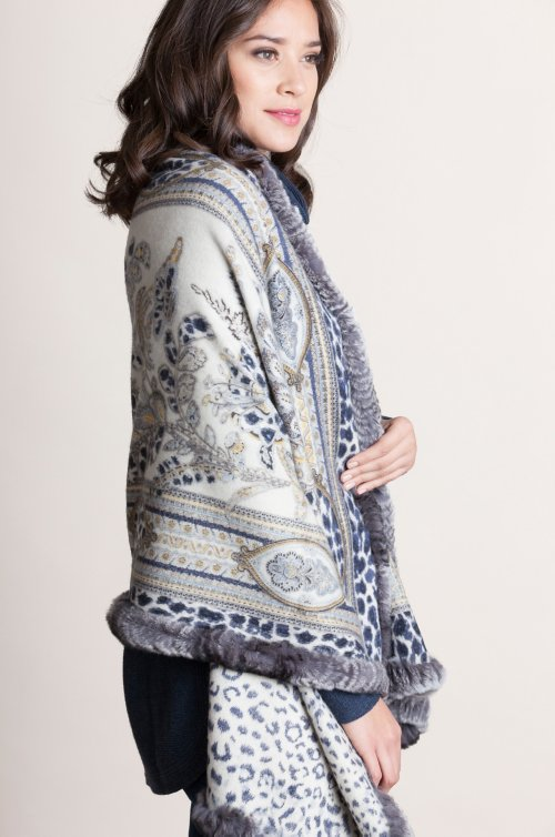 Lillian Cashmere-Blend Shawl with Rex Rabbit Fur Trim