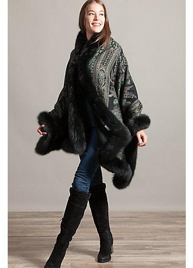 Jade Cashmere Cape with Blue Fox Fur Trim