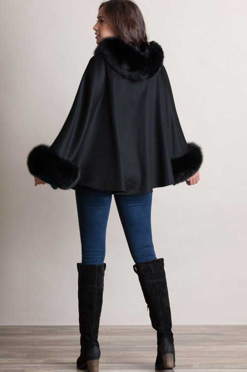 Jennifer Hooded Cashmere Cape with Blue Fox Fur Trim