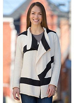 Runway Waterfall Stripe Handmade Cotton Cardigan Sweater