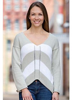 Pure Handknit Artist Striped Cotton Pullover Sweater