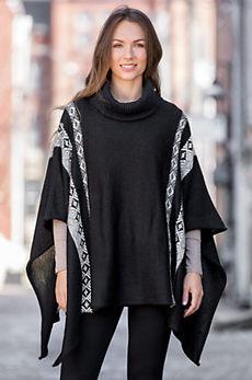 Indigenous Fair Isle Alpaca Wool Sweater Poncho