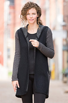 Indigenous Reversible Hooded Cotton Open Cardigan Sweater