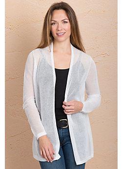 Indigenous Netted Handmade Organic Cotton Open Cardigan Sweater
