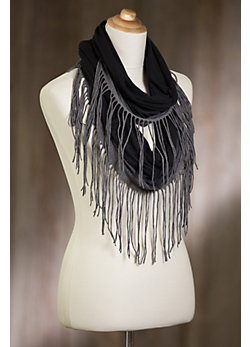 Indigenous Ombré Organic Cotton Infinity Scarf with Fringes