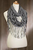 Indigenous Organic Cotton Infinity Scarf with Fringes