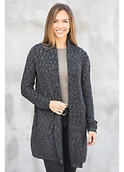 Modern Melange Organic Cotton Open Cardigan Sweater