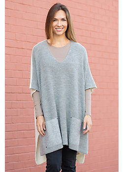 Patch Pocket Alpaca Wool Poncho