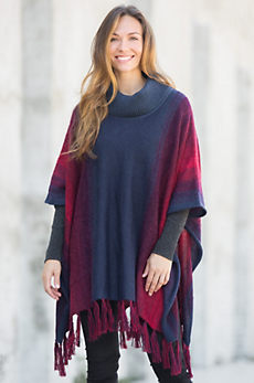 Tiana Painted Alpaca and Organic Cotton Poncho
