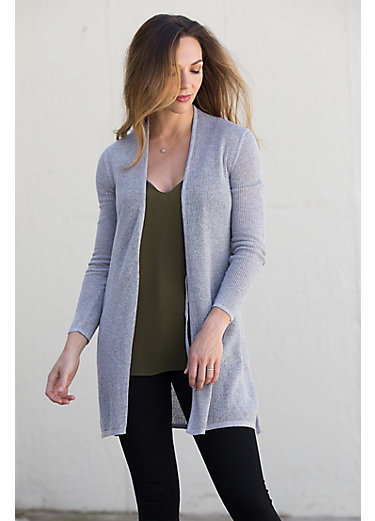 Netted Tie Front Peruvian Organic Cotton Cardigan