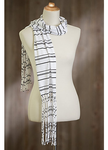 Peruvian Striped Fringe Organic Cotton Scarf