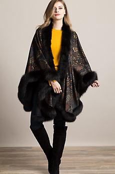Eleanor Cashmere Cape with Fox Fur Trim