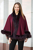 Louisa Cashmere Cape with Silver Fox Fur Trim