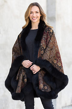 Tuilleries Printed Cashmere Cape with Fox Fur Trim