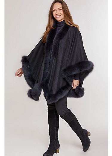 Victoria Cashmere Cape with Fox Fur Trim