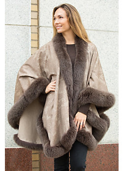 Rosamund Printed Cashmere Cape with Fox Fur Trim