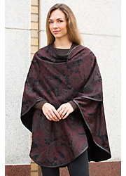 Isabel Printed Cashmere Cape with Leather Trim