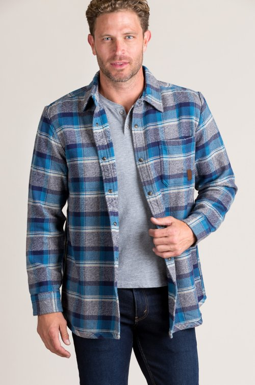 Gemini Reversible Plaid and Striped Heavy Cotton Shirt