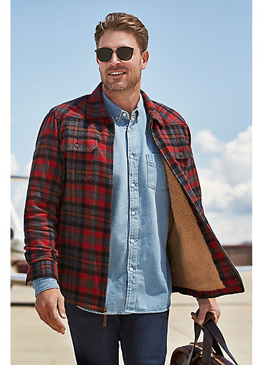 Nash Sherpa-Lined Flannel Shirt Jacket