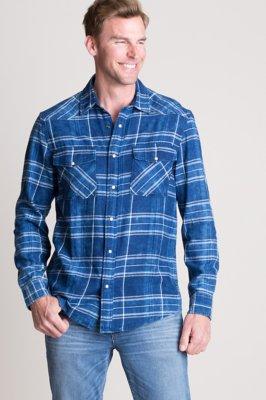 Heath Indigo Plaid Cotton Western Shirt