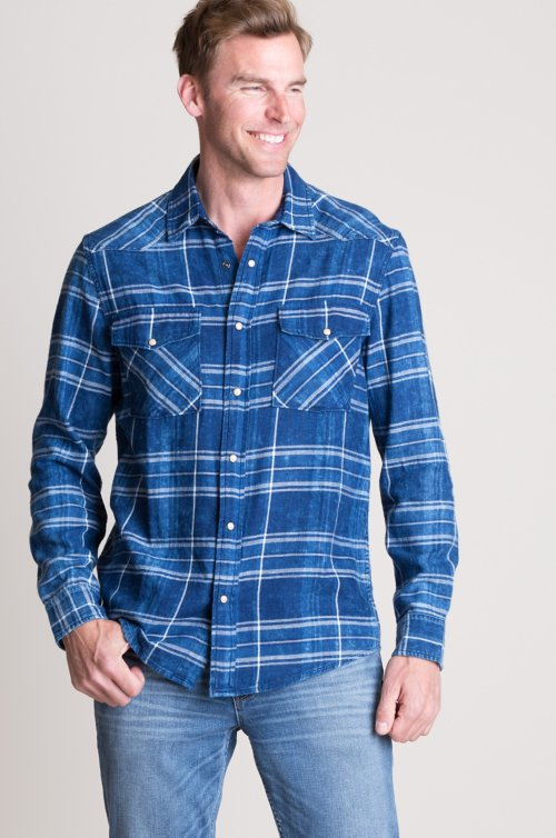 Heath Indigo Plaid Cotton Western Shirt