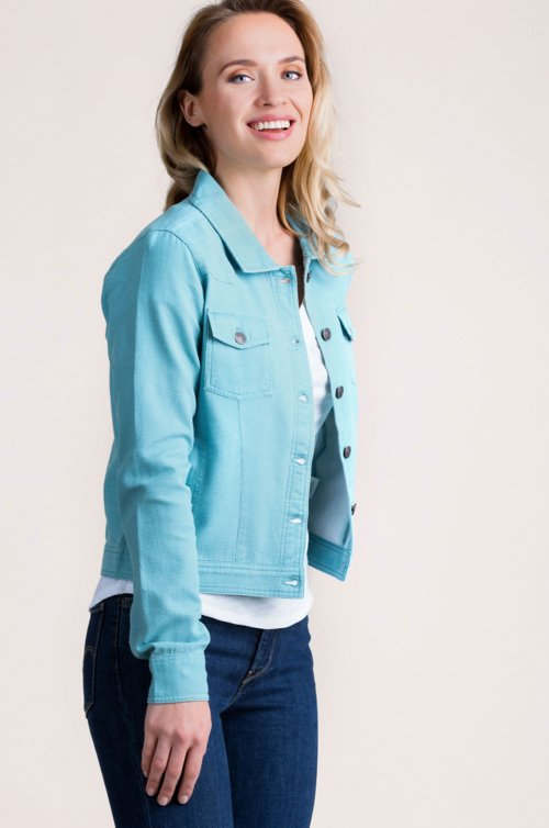Melanie Textured Cotton Jean Jacket