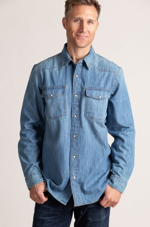 Theron Cotton Denim Western Shirt