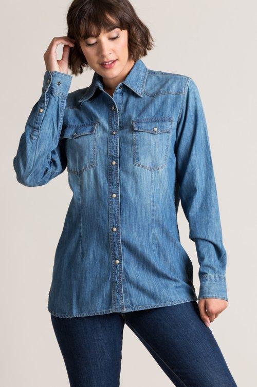 Kayleen Cotton Denim Western Shirt