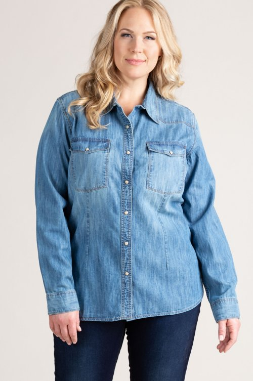 Kayleen Denim Western Shirt - Plus (18-24)