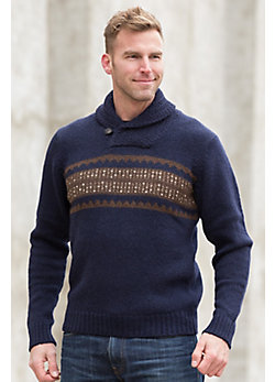 Trevor Shawl-Collar Peruvian Alpaca Wool Sweater