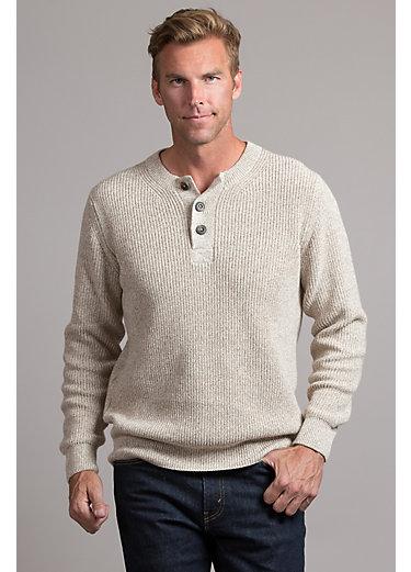 Dante Peruvian Cotton Henley Crew Sweater