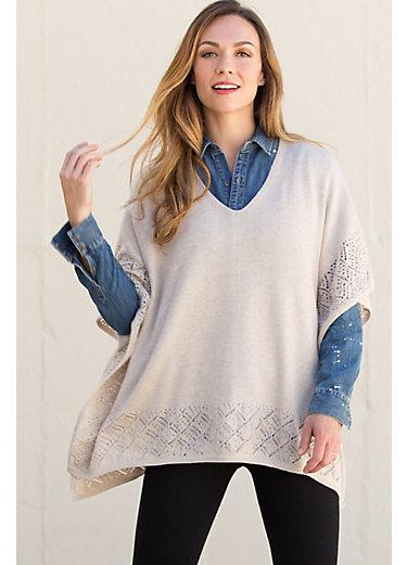 Florrie Pima Cotton Crochet Poncho