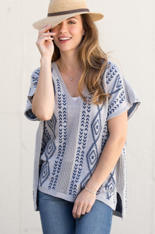 Bernice Pima Cotton Jacquard Poncho Sweater with Crochet Trim