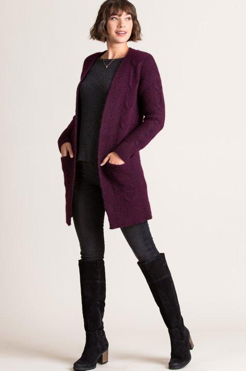 Roslyn Cable Knit Alpaca Wool-Blend Cardigan Sweater