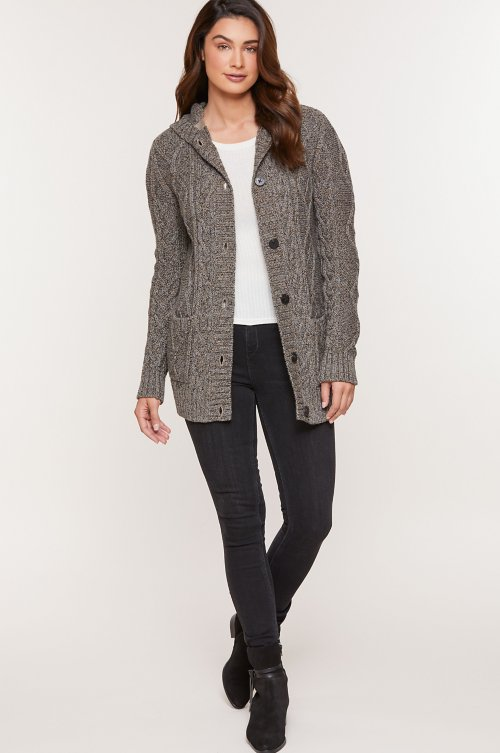 Tove Cable Knit Marled Cotton Hooded Cardigan Sweater