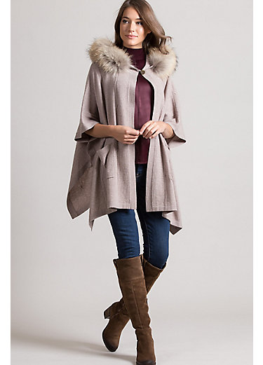 Eva Cashmere Hooded Sweater Cape with Detachable Raccoon Fur Trim