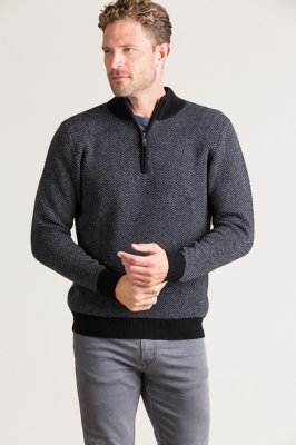 Gibson Herringbone Cashmere-Blend Pullover Sweater