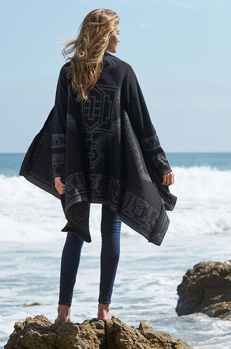 6188b3c5f38 Serenity Reversible Peruvian Alpaca Wool Open Sweater Cape