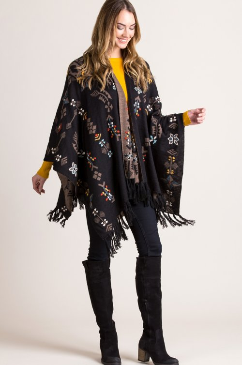 Georgina Reversible Embroidered Alpaca Wool Shawl