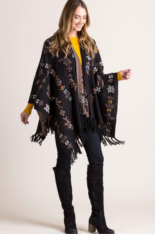 Georgina Reversible Embroidered Alpaca Wool Shawl