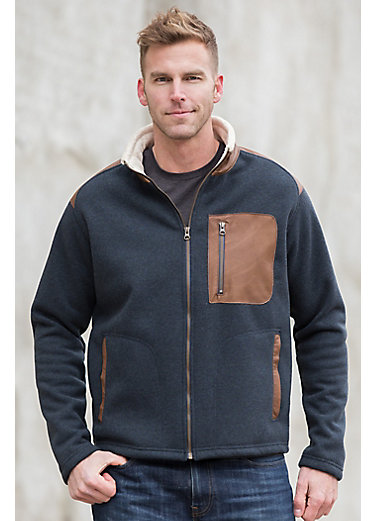 Canterbury Fleece Jacket with Leather Trim