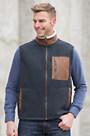 Canterbury Fleece Vest with Leather Trim