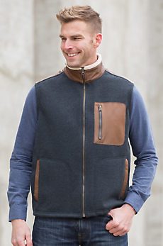 Canterbury Fleece Vest with Leather Trim