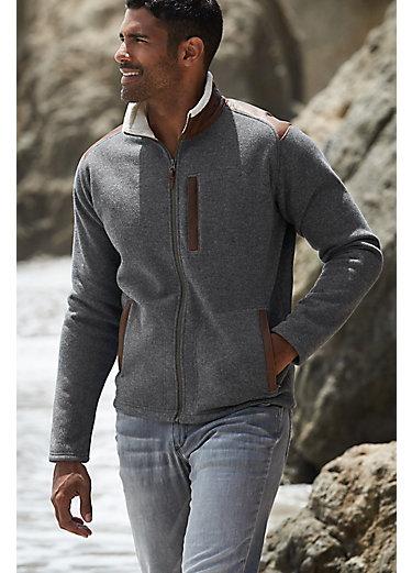 Holden Italian Wool-Blend Fleece Jacket with Leather Trim