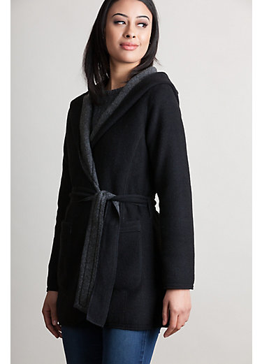 Betty Reversible Hooded Wool-Blend Wrap Coat