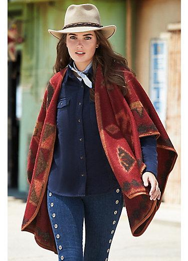 Mariana Leather-Trimmed Alpaca Wool-Blend Blanket Poncho