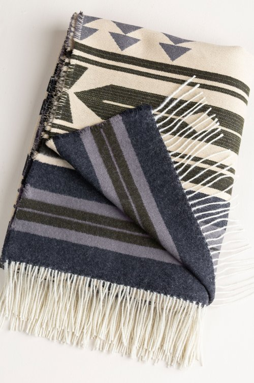 Geometric Italian Brushed Cotton and Wool-Blend Throw Blanket