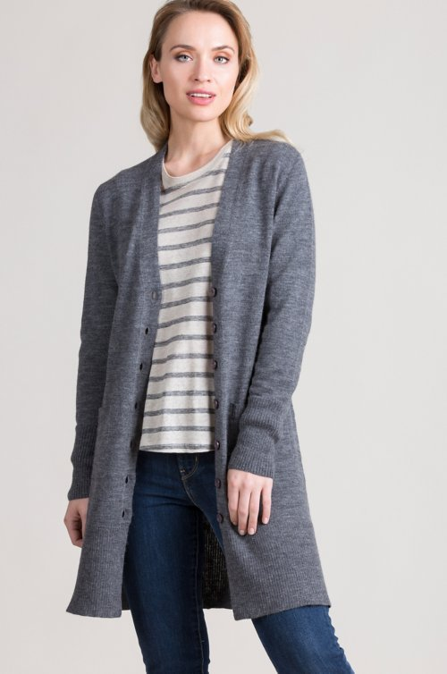 Julia Peruvian Alpaca and Cotton Blend Cardigan Sweater