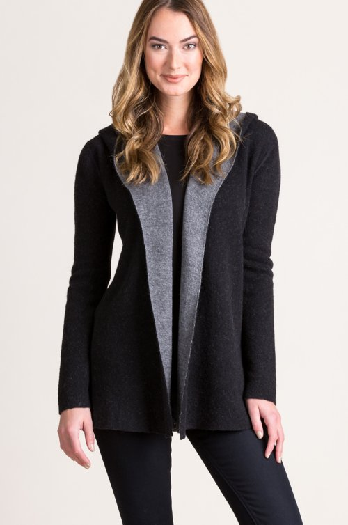 Essential Reversible Hooded Alpaca Wool-Blend Cardigan Sweater