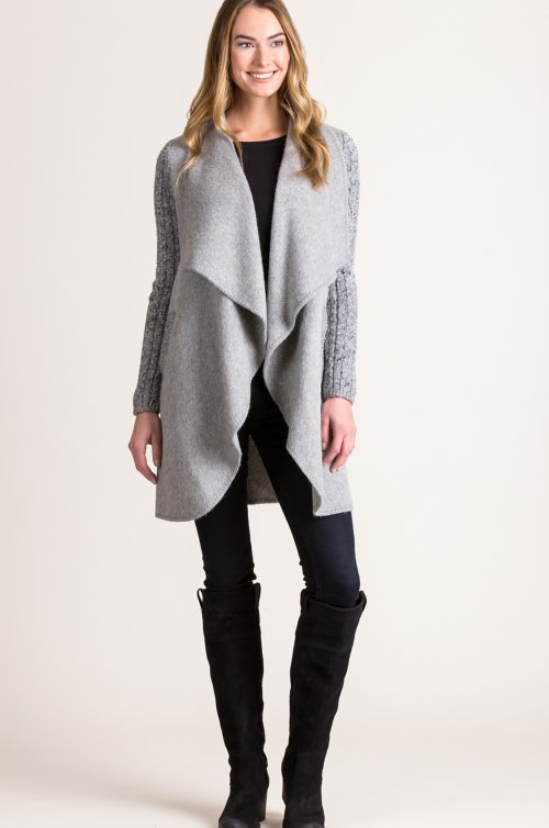 Belinda Alpaca Wool-Blend Sweater-Sleeve Coat